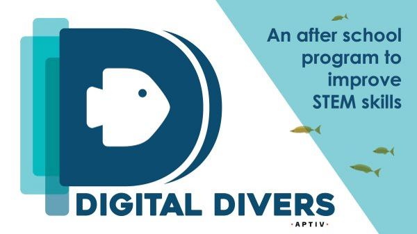 Digital Divers Logo. A blue fish on a dark blue background shaped like a D.