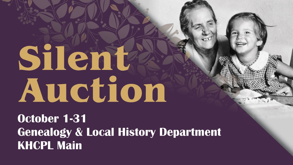 Text: Slient Auction October 1-31 Genealogy and Local History Department KHCPL Main Image Purple background with a flower pattern and a photo of a smiling older lady and child