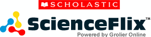 Scholastic ScienceFlix powered by groilier online. Transparent background with a red yellow and blue bar shaped logo on the left