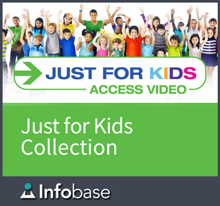 For Kids Logo with a green background and a group of children above