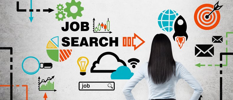 Photo showing the back of a woman in a suit with black hair. There are various icons and the words Job Search
